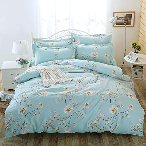 (Duvet Cover Set 2 Pieces (1 Duvet Cover + 1 Pillow Shams) White Flower Printed - Soft Lightweight Luxury Microfiber - Hypoallergenic Comforter Covers Zipper Closure Twin Size)