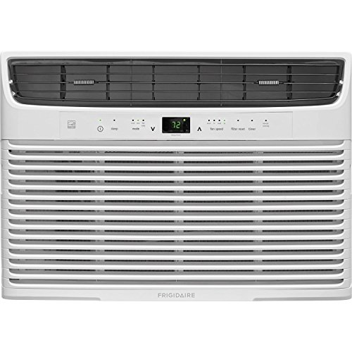 (FRIGIDAIRE 10,000 BTU 115V Window-Mounted Compact Temperature Sensing Remote Control, White Air Conditioner,)