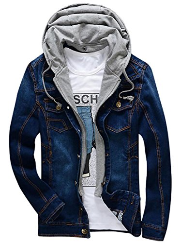 ainr Men's Casual Denim Jacket with Removable Hooded 1 M