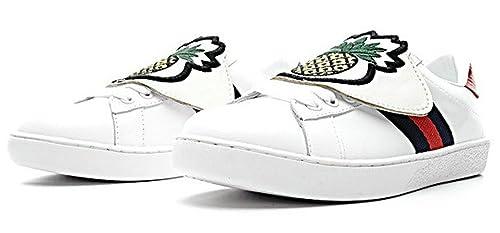 Gucci Ace Embroidered Low Top Pineapple White Blanco Cuero Zapatillas Mujer: Amazon.es: Zapatos y complementos