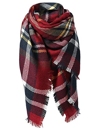 Zando Women's Scarves Plaid Blanket Thick Fall Winter Scarf Dark Red