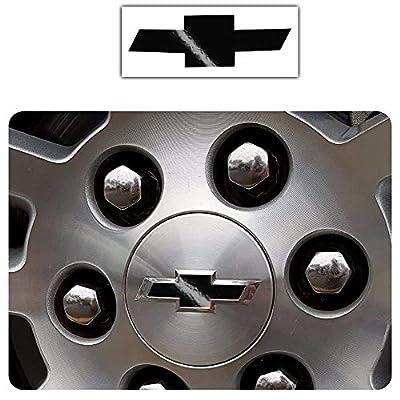 Bogar Tech Designs - Pre Cut Center Wheel Cap Vinyl Decal Sticker Compatible with Chevy Silverado 2020, Gloss Black: Automotive