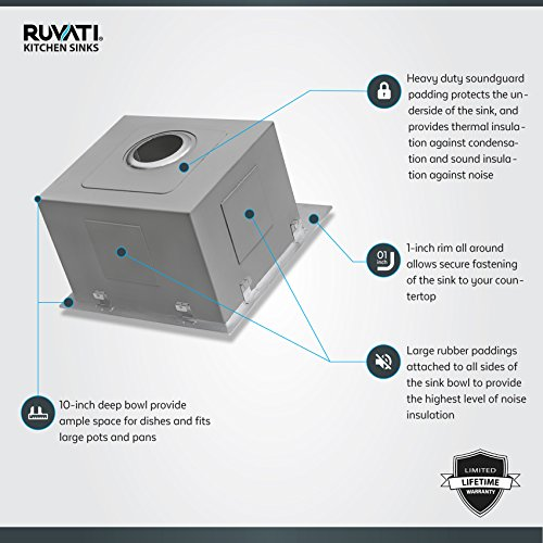 Ruvati 15 x 15 inch Drop-in Topmount Bar Prep Sink 16 Gauge Stainless Steel Single Bowl - RVH8115 by Ruvati (Image #2)