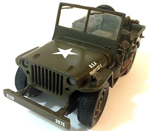 (2 PC NewRay 1:32 scale Jeep Willys diecast model WW II Military US Army Vehicle)