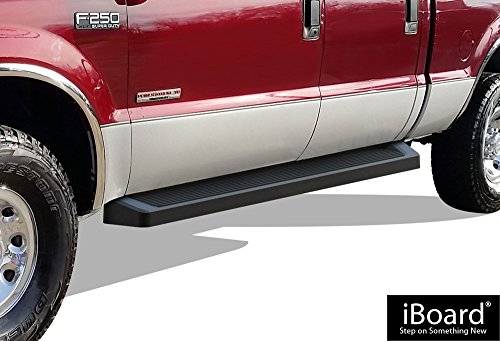 APS iBoard Running Boards (Nerf Bars | Side Steps | Step Bars) for 1999-2016 Ford F250 / F350 Super Duty Crew Cab Pickup 4-Door & 1998-2005 Excursion | (Black Powder Coated Running Board Style)