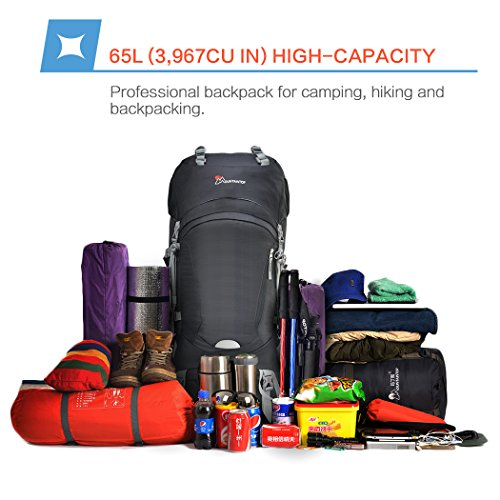 Mountaintop 65L Internal Frame Backpack Hiking Backpack with Rain Cover 5822III