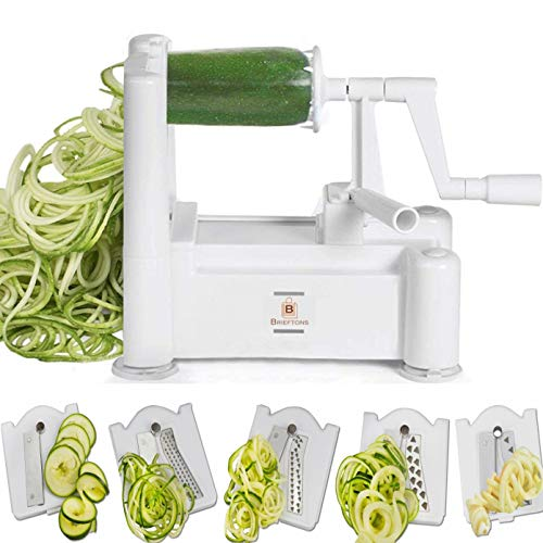 (Brieftons 5-Blade Spiralizer (Classic): Strongest-and-Heaviest Duty Vegetable Spiral Slicer, Best Veggie Pasta Spaghetti Maker for Low Carb / Paleo / Gluten-Free Meals, With 3 Recipe Ebooks - White)