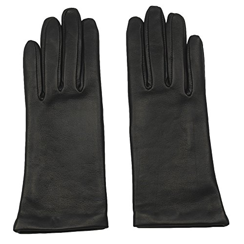 GRANDOE Women's Sheepskin Leather Glove, Cashmere Lined, Chic Modern Winter Wear (5100, Black, Large)