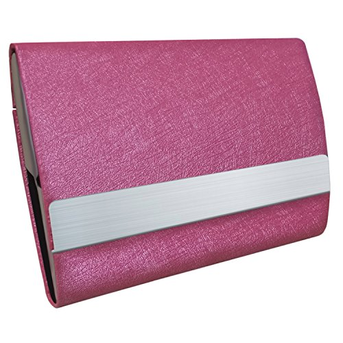 Bolier Professional Business Card Holder 100% Handmade Leather Business Card Case for Men and Women Rose Red