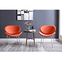 Comfortable and Armless Metal Frame Accent Chair, Set of 2, (Vibrant Orange)