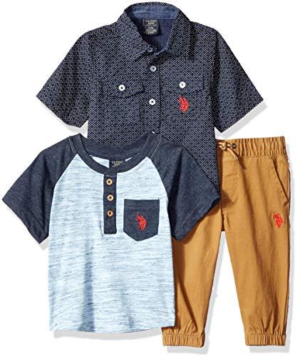 U.S. Polo Assn. Baby Boys T-Shirt, Sport Shirt and Pant Set Pants