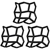 3 Pack Irregular DIY Pavement Mold Walk Maker Path Maker Brick Mold Concrete Form Pathmate Stepping Stone Molds for Concrete Mould Reusable for Garden, Court Yards, Patios and Walks, 13.8 x 13.8in