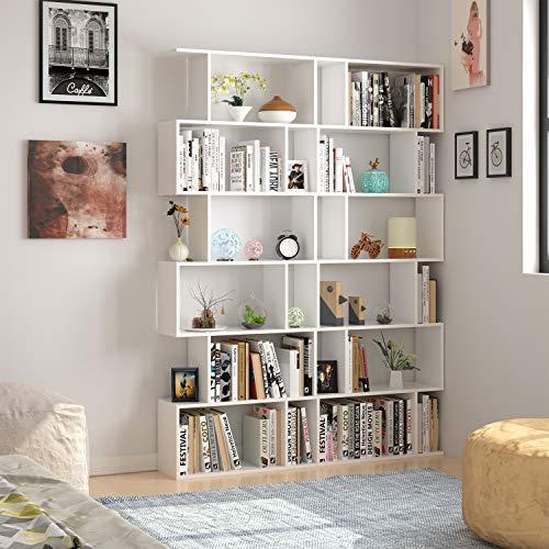 Homfa Wood Bookcase 6 Tier Shelving Unit S Shape Bookshelf