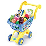 KISSKIDS 19'' Large Plastic Shopping Cart with Accessories of Fruits, Vegetables, Drinks, Popular Pretend Toy for Children(Blue)