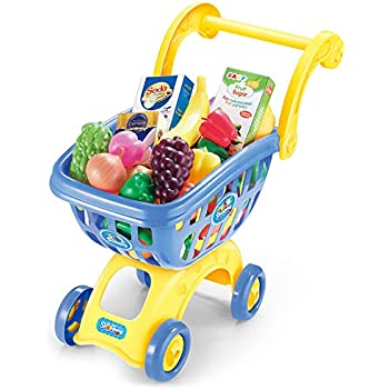 KISSKIDS 19 Large Plastic Shopping Cart with Accessories of Fruits, Vegetables, Drinks, Popular Pretend Toy for Children(Blue)