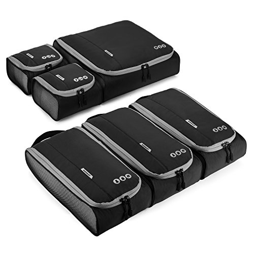 BAGSMART Travel Packing Cubes 3 Sizes Portable Packing Organizer for Carry-on Accessories, 6 pcs