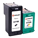 Novajet High Yield Remanufactured Ink Cartridge Replacement For HP 74XL 75XL (Black, Color) CH623BN CB336WN For Deskjet D4260 D4360 Officejet J5780 J6480 Photosmart C4250 C4280 C4385 C4580 C5280 C5580