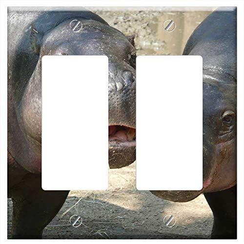 Switch Plate Double Rocker/GFCI - Hippo Zoo Hippopotamus River Horse Animal