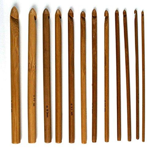 FUSION - 3mm, 3.5mm, 4mm, 4.5mm, 5, 5.5, 6mm, 6.5mm, 7mm, 8mm, 9mm and 10mm - 12 Stück KARBONISIERT BAMBUS Häkelnadeln Nadelset
