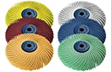 Dedeco Sunburst - 3'' TC 3-PLY Radial Bristle Discs - 1/4'' Arbor - Industrial Thermoplastic Rotary Cleaning and Polishing Tool Set, Assorted: 1 of Each 6 Grit Textures (6 Piece)