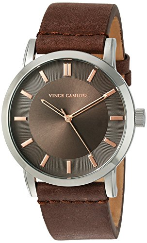 Vince-Camuto-Mens-VC1079DGSV-The-Sullivan-Silver-Tone-and-Brown-Leather-Strap-Watch