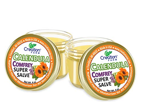 Calendula Comfrey Super Salve 8OZ- 2-4 oz Jars , by Creation Farm Balm Soothes Baby Bottoms, Eczema, Hand Cream for Dry Cracked skin, Tattoos and Beards Grown and Made in USA from Real Herbs