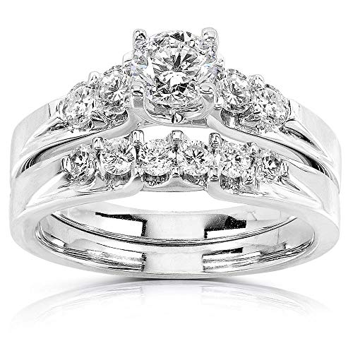(Round Diamond 5-Stone Bridal Set 1 Carat T.W. 14k White Gold, 4 )