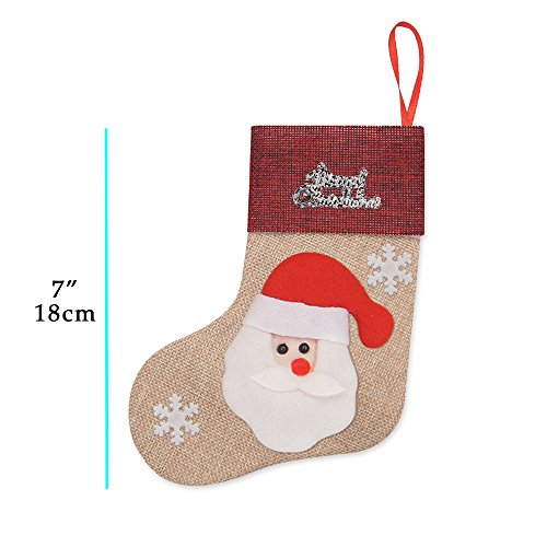 Ivenf 12 Pack 7'' 3D Burlap Mini Christmas Stockings, Santa Snowman Reindeer Gift Card Silverware Holders, Bulk Treats for Neighbors Coworkers Kids Cats Dogs, Small Rustic Red Xmas Tree Decorations Set by Ivenf (Image #2)