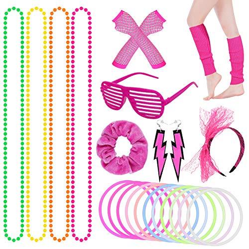 Dreamtop 80s Costume Accessories Set Leg warmers Fishnet Gloves Headband Necklace Bracelet Earrings Hair Band Shutter…