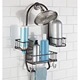 MetroDécor mDesign Swing Bathroom Shower Caddy for Tall Shampoo and Conditioner Bottles, Bronze