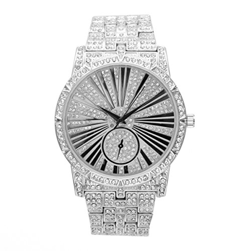 Bling-ed Out Mens Hip Hop Roman Numeral Dial Silver Tone Watch - L0503 Silver