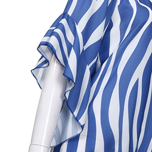 Una Donna a T da Strisce Donna con Elegante Camicetta Scoperte Blu a Pizzo Magliette Manica Donna da da feiXIANG Tops Linea in Donna da Casual a Corta Shirt A Spalle Maglietta fZqwBZ