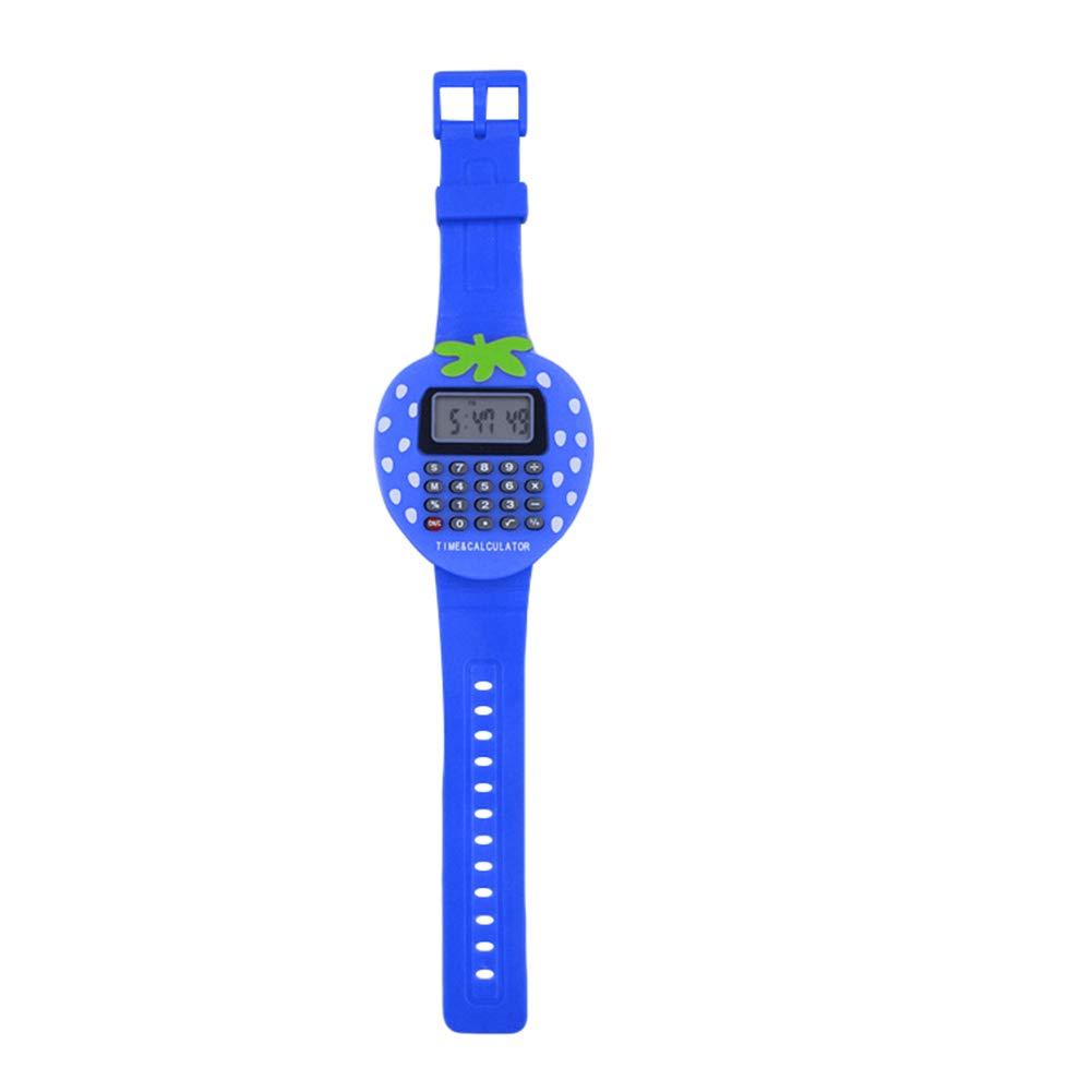 Mini orologio da polso digitale calcolatrice bambini studenti fragola GIF rosa Yanbirdfx