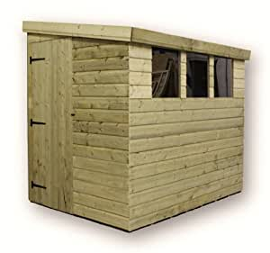Aston 10ft X 8ft Reverse Pressure Treated Tongue & Groove Pent Shed + 3 Windows