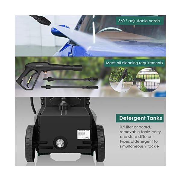 FIXKIT Idropulitrice Alta Pressione (1800w, 160 bar, 480 l / h), con Avvolgitubo, 2 Tubo Jet, Spazzola per Pulizia, Bottiglia, Cavo 4.8m, Tubo da 6.2m, Utilizzato in Casa, Auto, Giardino 5 spesavip