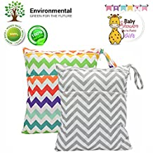 2 pcs Baby Wet/Dry Bag Splice Cloth Diaper Waterproof Bags with Zipper Snap Handle (Chevron Rainbow and Grey)