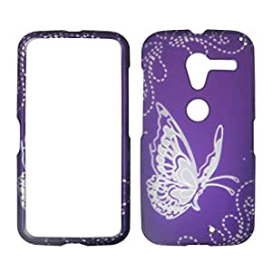 2D Silver Butterfly on Purple Motorola Moto X Phone XT1055 Verizon , U.S Cellular Case Cover Hard Phone Case Snap-on Cover Rubberized Frosted Matte Surface Hard Shells