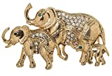 Mother Elephant and Baby Elephants Brooch Pin 2.6'' with Exquisite Detail and Crystal Accents (Gold Tone)