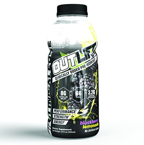 Nutrex Outlift RTD | Premium Amino Acid Performance & Energy | Blackberry Lemonade | 12 Bottles
