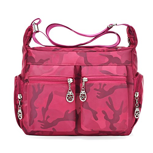 - Women's Crossbody Shoulder Bag with Multiple Pockets Water Resistant Nylon (Camouflage-HotPink)