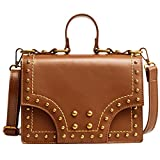 Chilie Women Girl Rivet Decor PU Handbags Tote Bags Vintage Single-shoulder Bags for Cosmetics Cellphone