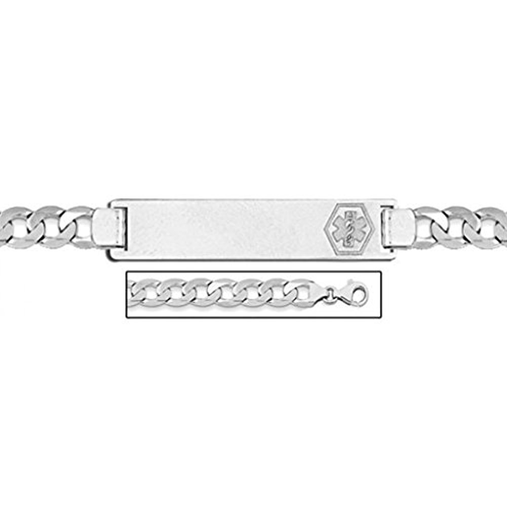 Sterling Silver Medical ID Bracelet W/Curb Chain - 7-1/2 Inch WITH ENGRAVING