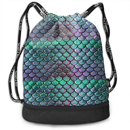 Men & Women Premium Polyester Drawstring Sack Green Mermaid Scale Style Rucksack Theft Proof Lightweight For Traveling Soccer Baseball Bag Large For Camping, Yoga Runner -