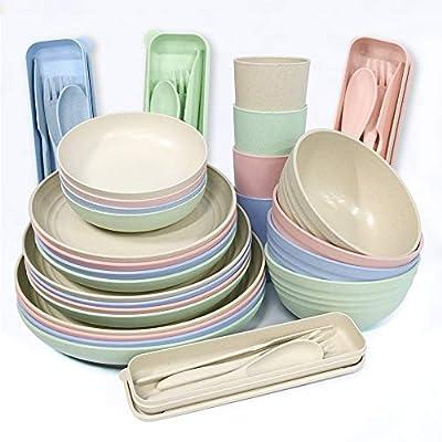 28-teiliges Geschirr-Set aus Weizenstroh, leichte Teller, Schüsseln, Tassen, Geschirr, Löffel und Gabel…