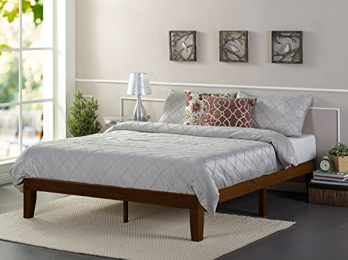 Pine Finish Bed (Zinus 12 Inch Wood Platform Bed/No Boxspring Needed/Wood Slat Support/Antique Espresso Finish, Full)