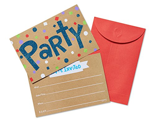 American Greetings 20 Count Confetti Glitter Fun Party Invite Postcards, Multicolor ()