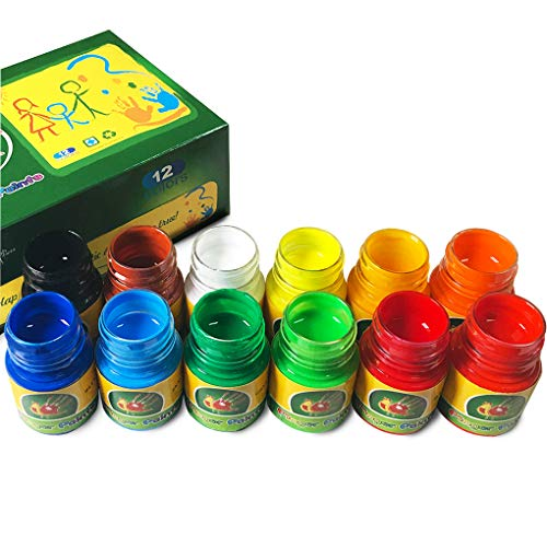 iMustech Washable Finger Paints Kid's Paint Art Supplies (12 Colors x 1.02 FI.oz)