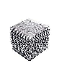 Neatpal 100% Cotton Men's Grey Handkerchiefs with Check Pattern 12 Pieces