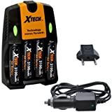 Xtech 4 AA Ultra High Capacity 3100mah Rechargeable Batteries with AC/DC Travel Turbo Quick Charger for Canon Speedlite 270EX, 270EX II, 320EX, 430EX, 430EX II, 580EX, 580EX II, & 600EX-RT Flashes, Speedlite Transmitter ST-E3-RT, Macro Ring Lite MR-14EX,