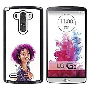 EJOY---Cubierta de la caja de protección la piel dura para el / LG G3 / --Púrpura Afro Chica